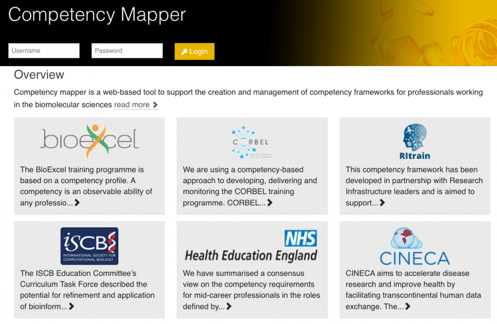 Front page of the competency mapper website featuring projects